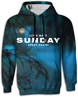 Make Sunday Great Again Mens Realistic 3D Print Hooded Sweatshirt with Pockets