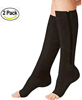 (2 Pairs)Compression Medical Zip Socks15-20mmHg Zipper Leg Support Unisex Open Toe Knee