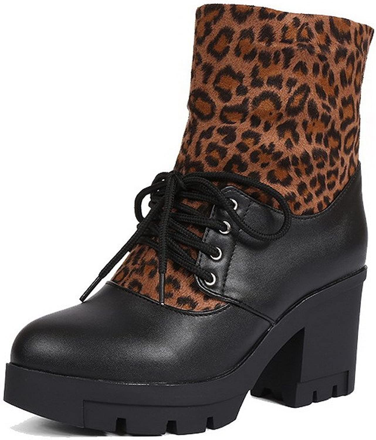 WeiPoot Women's Soft Material Round Closed Toe Assorted color Low-Top High-Heels Boots