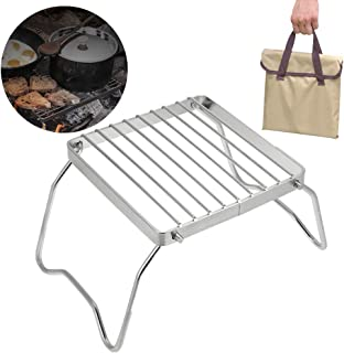 Hiking and Bushcraft Camping Trips Lightweight,with Canvas Carry Bag, Great for Backpacking QINHAN Campfire Grill High Strength Stainless Steel Mesh Grate//Compact