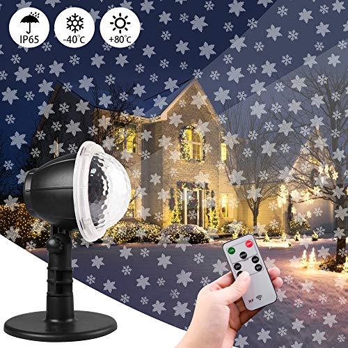 Carrep Proyector LED de nieve, luz de Navidad, efecto de luz interior/exterior, IP65, efecto de luz LED, iluminación como lámpara de jardín