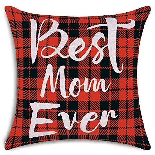 smiry Mother's Day Throw Pillow Covers Best Mom Ever Decorative Cushion Cover Cotton Linen Pillowcase Home Decor 18x18 Inch
