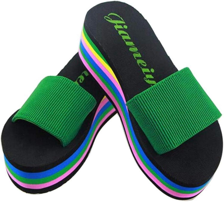 T-JULY Summer Women's Sandals for Beach Fashion Flip Flops Rainbow Casual Non-Slip Slippers