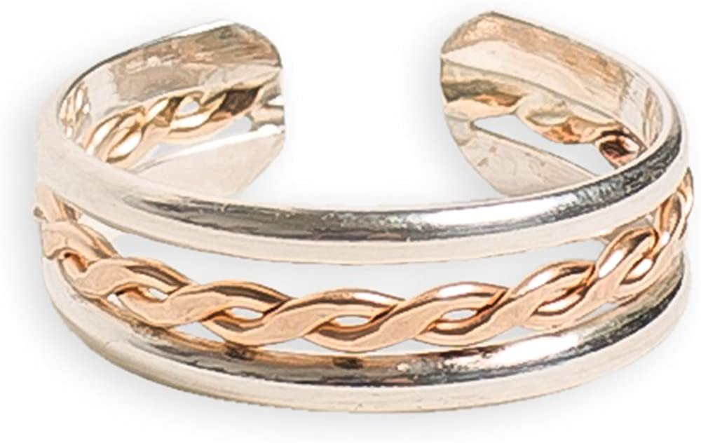 Ranking TOP4 Luxury Toe Ring Braid Stack .925 Sterling Silver 14K Gold Ad Fill