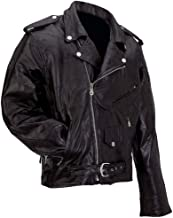 Diamond Plate Rock Design Genuine Buffalo Leather Motorcycle Jacket Black 6X