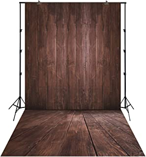 FiVan Backdrop for Photo Booth Waterproof Background for Smash Cake Photography Coffee Brown Barn Wood Floor XT-3639 (5x10ft)