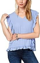 Karen Scott Maison Jules Women's Ruffled V-Neck Top
