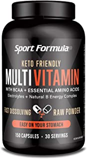 Sport Formula Daily Keto Superfood Multivitamin BCAA Amino Acid Powder Capsules for Men and Women. Won't Upset Your Stomac...