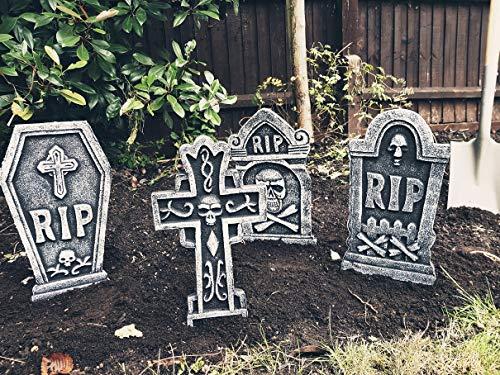 Set of 4 Tombstones Travestone – Grave Headstones Rip Halloween Party Polystyrene Decorations Prop Graveyard