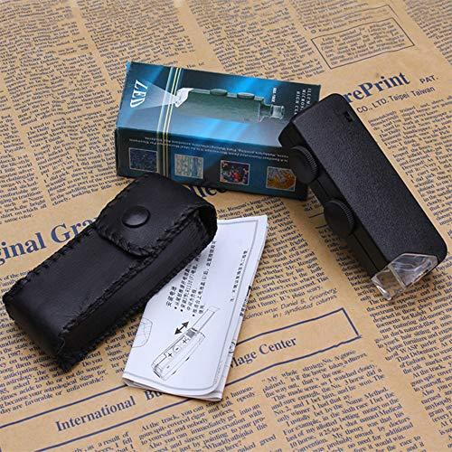 Homedoor MicroBrite Plus 60x-100x Pocket Microscope with LED Light Optical Glass Lens Mini Portable
