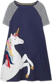Little Girls Dress Casual Cotton Kids Unicorn Appliques Striped Jersey Dress 2-7 Years