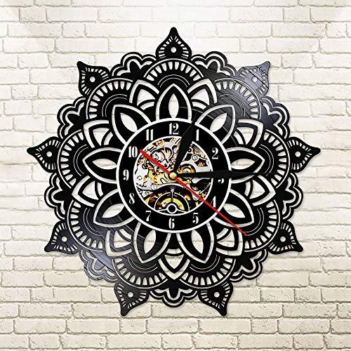 Indische Mandala Samen Satori Yoga Vinyl CD Disc Wanduhr Mandala Blumenschneiden Kunsthandwerk Kunst LED Licht Duvar Saati
