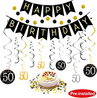 50th Birthday Decorations Kit for Men & Women 50 Years Old Party, NO Assembly Required - Black Gold Happy Birthday Banner, Hanging Swirls, Circle Dots Hanging Decoration, Number 50 Table Confetti