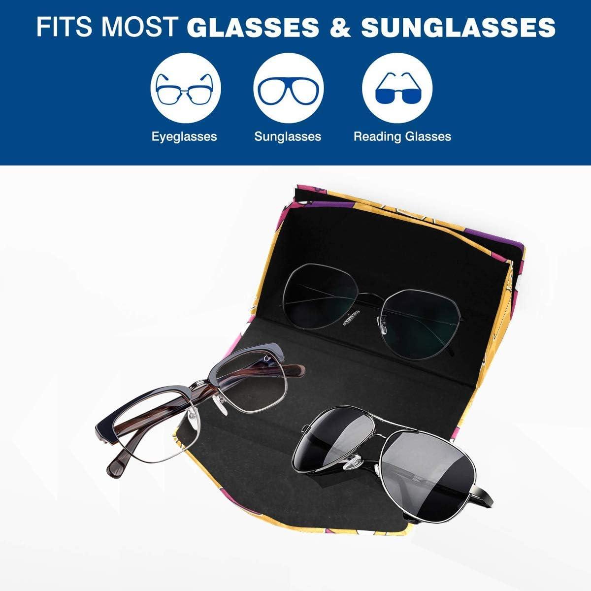 Glasses Case Funny Cartoon Cats Meow Eyeglass Case Leather Magnetic Folding Hard Case Sunglasses Eyewear Protective Case