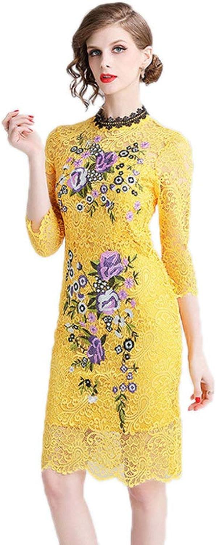 New Women's Cocktail Dress Sexy Cutout Embroidered Temperament Step Skirt Lace Dress,YellowM