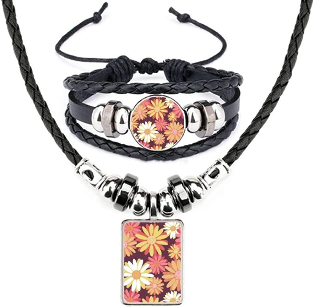 Red Yellow Flower Plant Pattern Leather Necklace Bracelet Jewelry Set