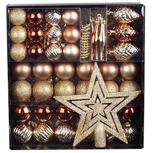 Unbekannt 50 TLG. Set Weihnachtskugeln Baumschmuck Weihnachtsbaum Tanne Deko Baum Kugeln, Farbe:Gold_Champagner