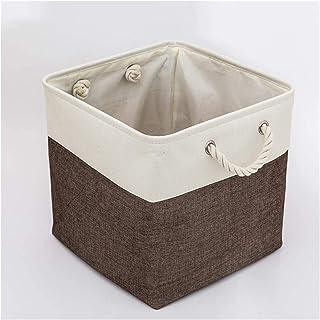 ZFQZKK Boîte de rangement en toile Ensemble de 2, paniers de rangement en tissu pliable avec poignées pour armoires, armoi...