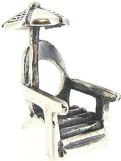 Queenberry Sterling Silver Beach Chair Sun Umbrella European Style Bead Charm