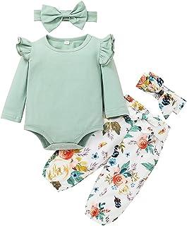 3 قطع الوليد الرضع طفل الفتيات منزعج الصلبة رومبير ارتداءها + الأزهار السراويل ملابس مجموعة الملابس (Color : Green, Size :...