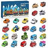 Calendario Dell'avvento Bambini Calendario dell'Avvento Set di giocattoli per auto Contiene veicolo dei pompieri, Aerei, Escavatore-Regalo per il conto alla rovescia di Natale per bambini