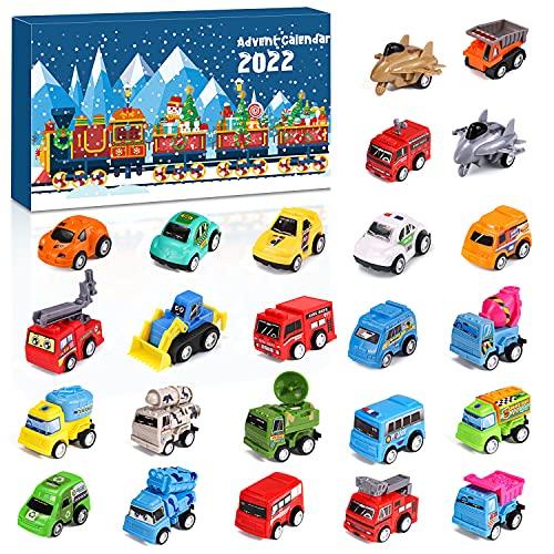 Calendrier de l'Avent Enfants-Noël Calendrier de compte à rebours de 24 jours-Calendrier de l'Avent Cars Toy Set contient un véhicule d'incendie, de compte à rebours de Noël pour les enfants