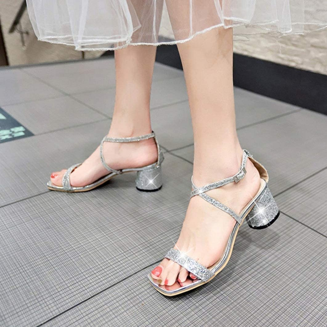 XINTECH Lady Summer Sandals Fashion Sequin Sliver Buckle Strap Cone Heel 4 cm Summer Vintage Dress Casual Peep-Toe Sandals Sliver