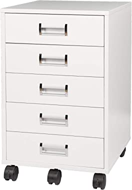 TOPSKY 5 Drawer Mobile Cabinet Fully Assembled Except Casters Built-in Handle (White)