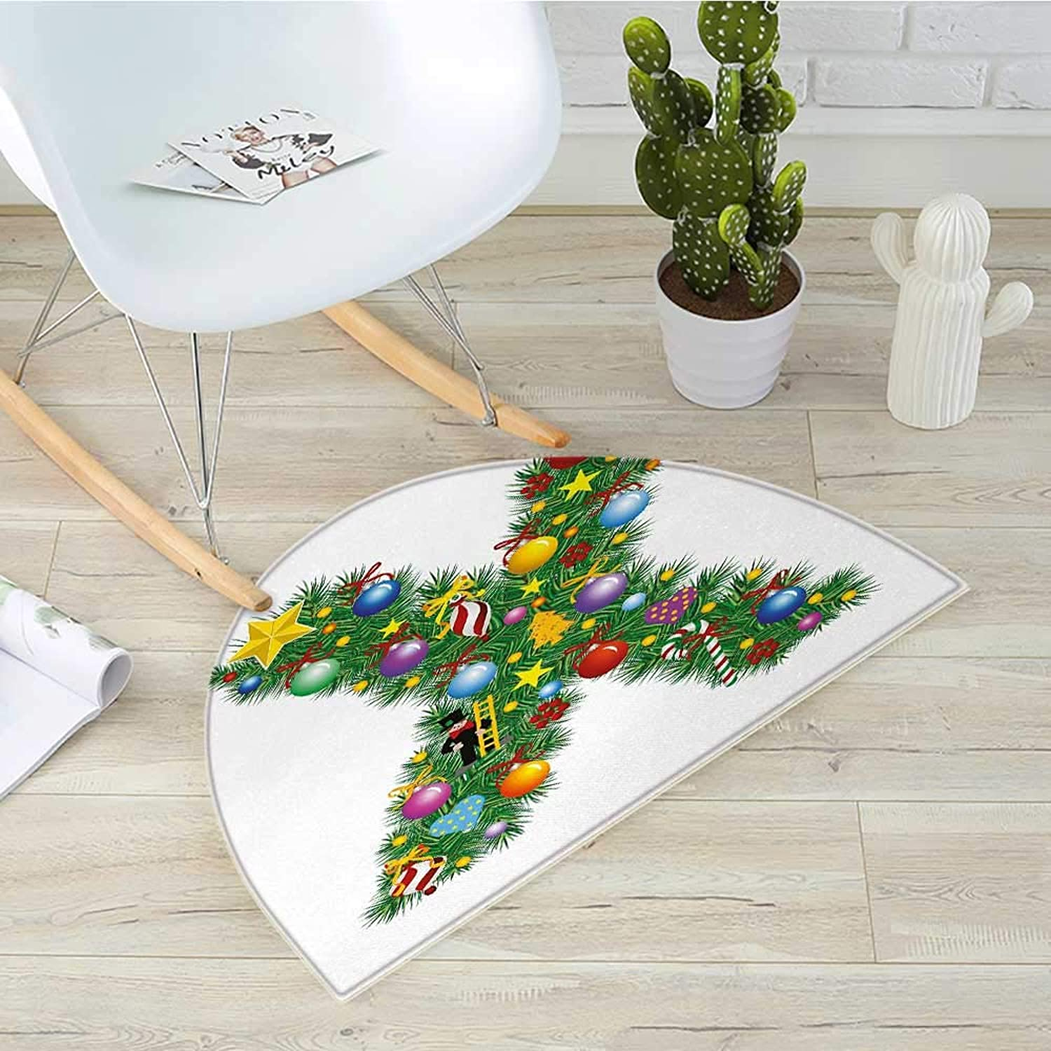 Letter X Half Round Door mats Traditional Celebration Design Coniferous Tree Font with Cheerful Elements on X Bathroom Mat H 43.3  xD 64.9  Multicolor