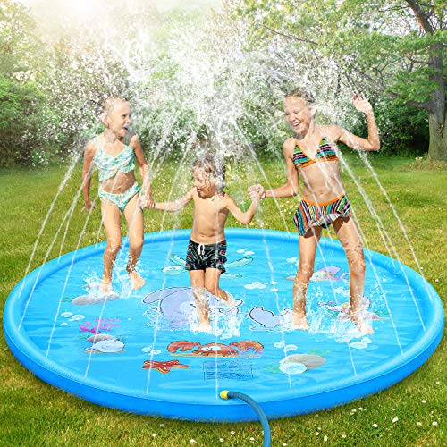 Splash Pad, 69 Inch No More Burst Sprinkle and Splash Play Mat for Kids Boys Girls Fun Splash Play Mat Summer Outdoor Sprinkler Pad Party Water Toys Extra Large Children's Sprinkler Pool Sprinkler Toy