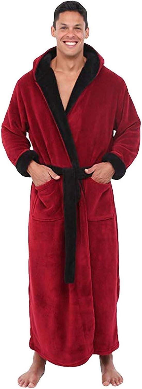 Men's Plush Hooded Robe Full Length Bathrobe with Hood Big & Tall Long Sleeve Turkish Bathrobe Warm Pajamas