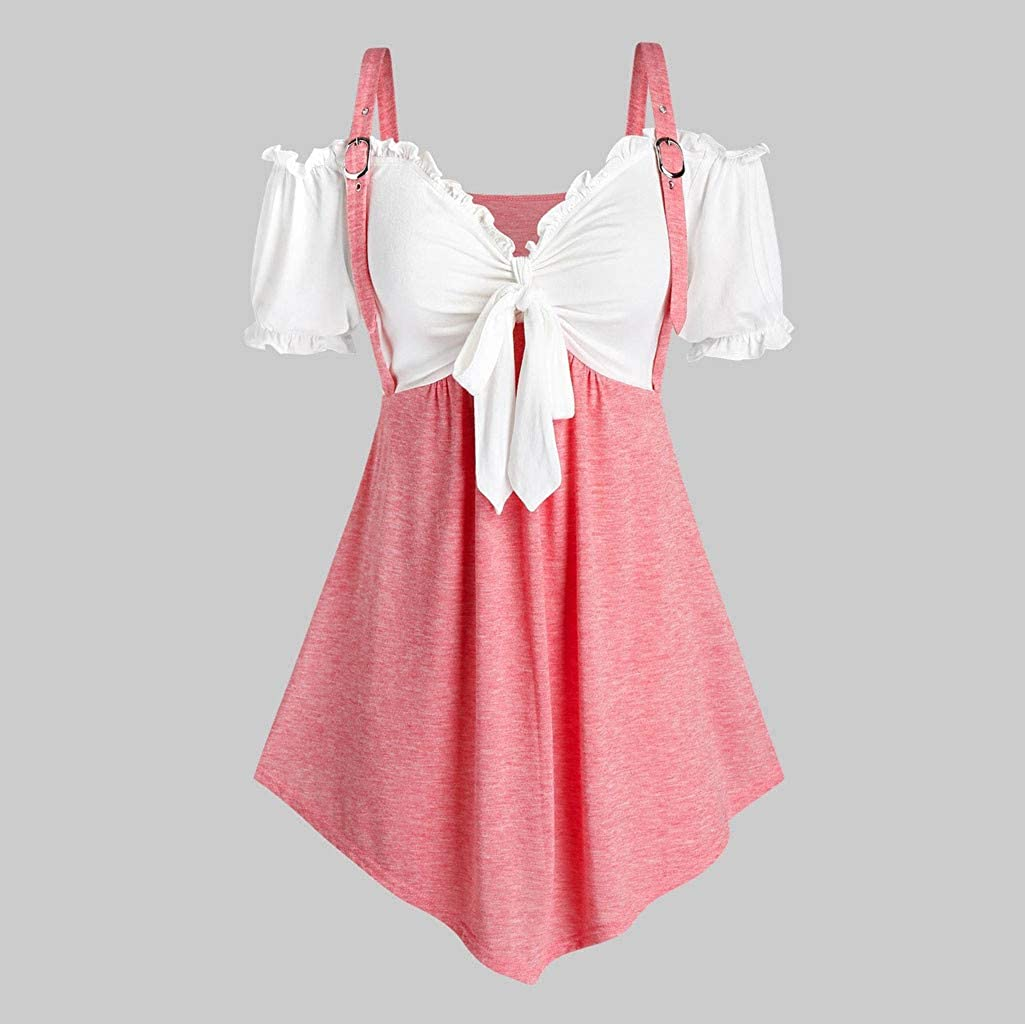 SSDXY Women Cold Shoulder Button Down Solid Asymmetrical Hem Mini Dress Plus Size Tops Shirt Gothic Blouse Tunic