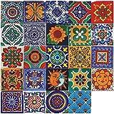 24 pegatinas de azulejos vintage marroquíes, autoadhesivas, de vinilo, para pared, decoración del hogar, para cocina, salón, dormitorio (10 x 10 cm)