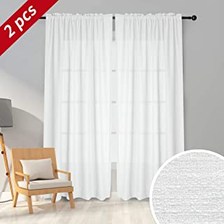Melodieux White Semi Sheer Curtains 96 Inches Long for Living Room - Linen Look Bedroom Rod Pocket Voile Drapes, 52 x 96 Inch (2 Panels)