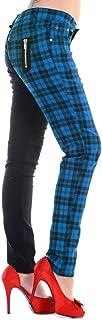 Womens Purple Half Tartan Plaid Check Emo Punk Split Leg Skinny Trousers