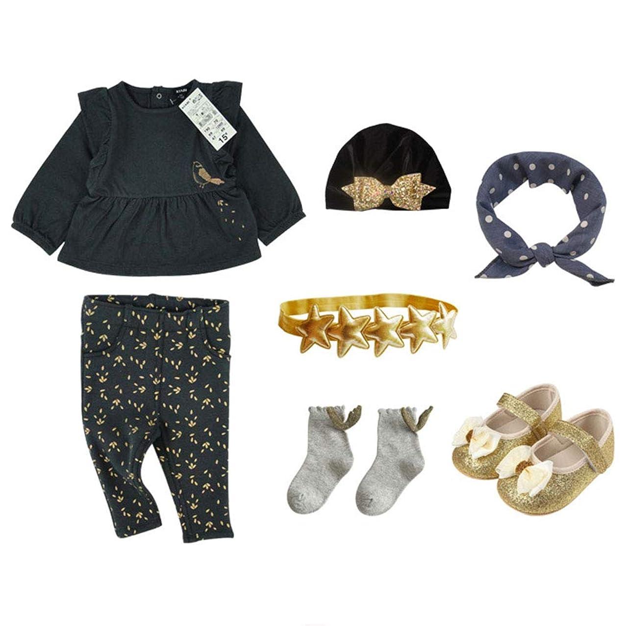 ロックラショナルアセンブリ新生児の満月の赤ちゃん用ギフトボックス、ケーキの贈り物、赤ちゃんの春と秋の服装、ヘアアクセサリー、黒、女性