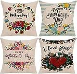 HNDXLHH Funda de cojín 45x45 Flores De Amor Crema Funda de Almohada Lino de Algodón Fundas Cojines Sofa para Sofá Cama Hogar Decorativo Set de 4