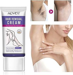 Crema depilatoria de 50 ml, crema depilatoria sin dolor con espátula, crema depilatoria para el área del bikini, piernas