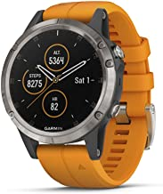 Garmin Fenix 5 Plus, Premium Multisport GPS Smartwatch, Features Color Topo Maps, Heart Rate Monitoring, Music and Pay, Titanium with Orange Band