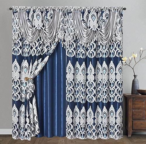 Voile jacquard window curtain panel drape with attached fancy valance
