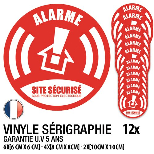 Pack sticker sécurité complet/Lot de 12 stickers Alarme