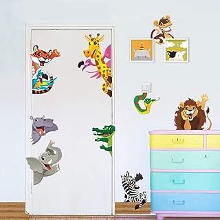 Jungle Animals Wall Stickers for Kids Rooms Home Door Decor Cartoon Lion Elephant Giraffee Wall Decals PVC Mural Art DIY Posters(Animal 2)