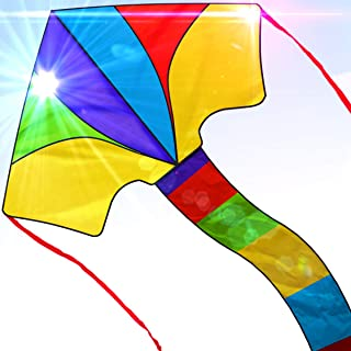 Easy to Fly Large Nylon Delta Kite for Kids and Adults Great for Beach Trip and Outdoor Activities Perfect for Beginners Flies High in Light Breeze Flying String Line Included Big Flyer Childrens Toys