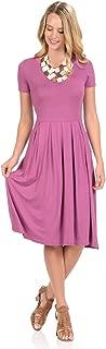 Women's Short Sleeve Pleated Midi Dress with Pockets