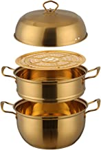 1 Pcs Steamer Pot Stainless Steel Three layer Thick Gold Steamer Pot Soup Steam Pot Cooking Pots Cooker Gas Stove (Color :...