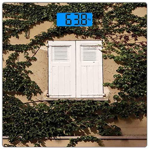 Escala digital de peso corporal de precisión Square Decoración de persianas Báscula de baño de vidrio templado ultra delgado Mediciones de peso precisas,Obturador de ventana de madera mediterráneo ant