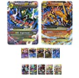 EX Mega Pack of 13 Cards Charizard Mega EX with Rayquaza Mega EX and 5 EX / 5 GX Free 1 Plastic Card All Standard Size English Version