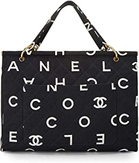 14cb6be95703 CHANEL Black Quilted Canvas Logo Frame Tote (Pre-Owned)