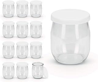 Rekean - Pot de Yaourt en Verre avec couvercles à Clipser Blancs étanche pour yaourtières et cuiseurs - Lot de 12 - Fabric...