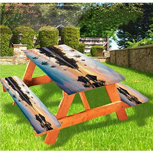 LEWIS FRANKLIN - Cortina de ducha tropical de lujo, mantel de mesa de picnic con borde elástico Sunset Moorea Island, 28 x 72 pulgadas, juego de 3 piezas para mesa plegable